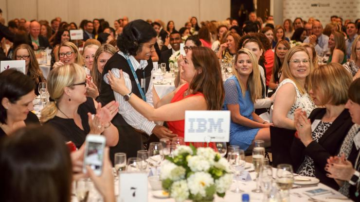 Gandhi Sivakumar from IBM Australia being congratulated for her win at 2015 WIICTA