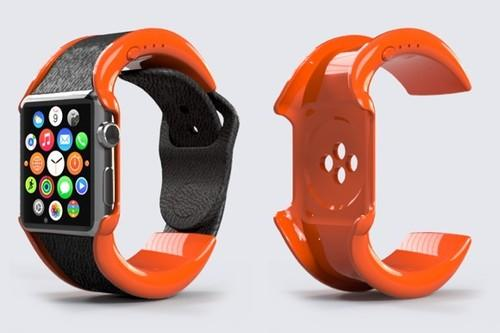 The Wipowerband snaps underneath the watch body to connect with Apple's magnetic charging contact, and stuffs a 250mAh battery into a wraparound wristband.