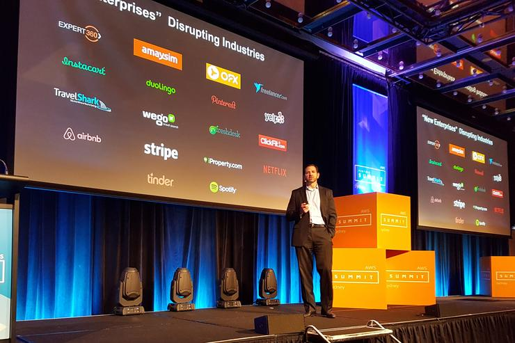 AWS' Terry Wise addresses AWS Partner Summit Sydney. Photo: Chris Player