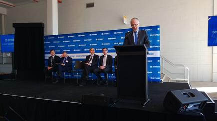 Malcolm Turnbull speaking at the Synnex logistics centre launch.