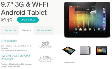 The new Bauhn tablet as it appears on the company's Website.