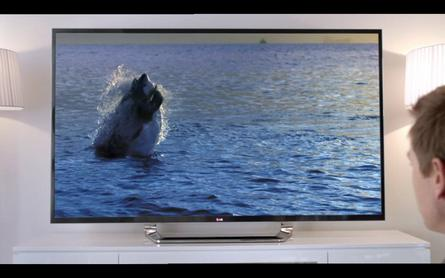The 15 second spot begins with Ewan McGregor watching footage of a shark catch its prey on an LG Ultra HD television.
