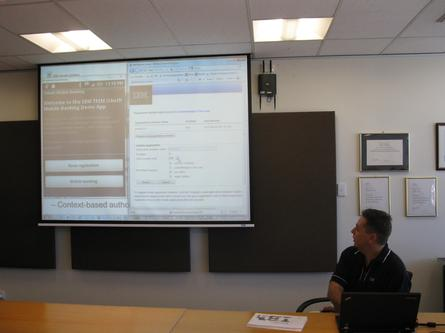 IBM's ADL product architect, Shane Weeden, demonstrating the company's mobile security solution
