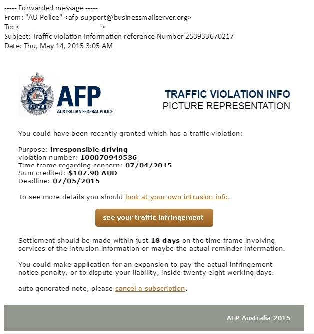 An example of an email delivering the AFP version of crypto ransomware