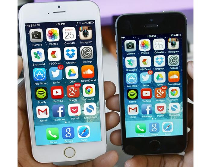 Rumoured Apple iPhone 6 (left). Image courtesy of Marques Brownlee and gadgetlove.com.