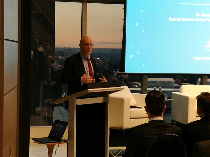 Aiastair MacGibbon addressing attendees at law firm Jones Day at an event part sponsored buy Australian cyber security firm, Nuix.