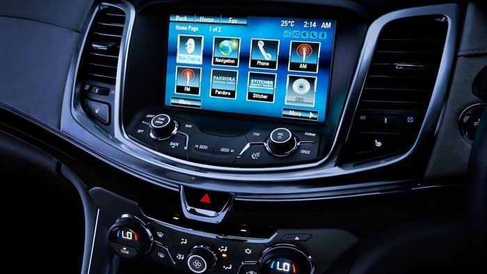 The VF Commodore comes with Holden's MyLink infotainment system which has an 8in colour touchscreen display.