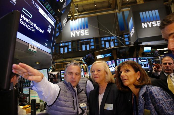 Meg Whitman - CEO, Hewlett Packard Enterprise, and Pat Russo, Board Chairman, Hewlett Packard Enterprise, on the NYSE trading floor