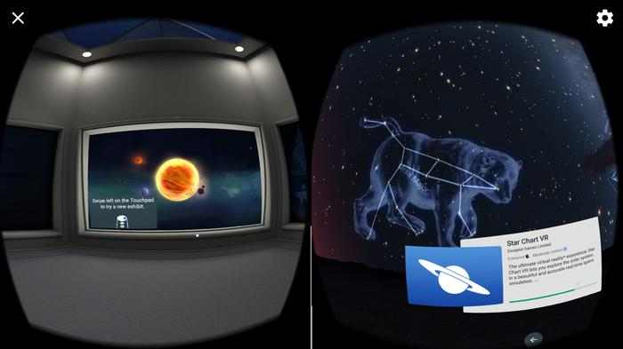 The left side of the screen lets us spin the solar system around by dragging it as part of the setup tutorial. The right side is a shot from a star mapping VR app.